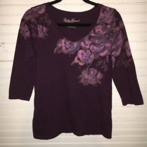 LUCKY BRAND LARGE FLORAL TOP W/ 3/4 LENGTH SLEEVES